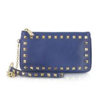 Rivet Genuine Leather Wristlet Bag , Rockstud Royal Blue Clutch With Detachable Wristlet