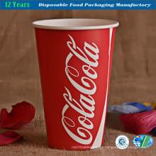 Taza de papel de grado alimenticio con doble PE recubierto para beber jugo