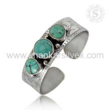 Glittering turquesa gemstone prata alta qualidade bracelete 925 prata esterlina joalheria jóias atacadista