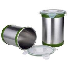boîte à café en acier inoxydable contenant des pots à épices hermétiques avec couvercle