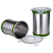 stainless steel lock coffee storage box container airtight spice jars with lid