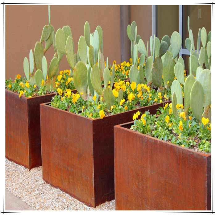 corten steel flower planter box
