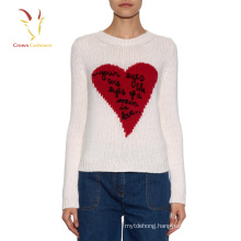 Winter chunky knit pullover heart design sweater for women