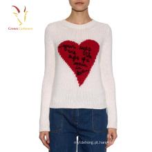Camisola robusta do projeto do coração do pulôver da malha do inverno para mulheres