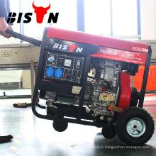 BISON Chine Démarreur électrique à gaz refroidi à l'air avec génératrice diesel 7KVA avec roues