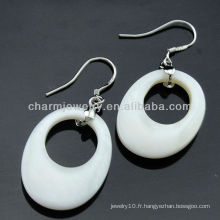 Boucles d'oreilles en forme de coréen de véritables boucles d'oreille couleur blanche avec cristal clair FE-004