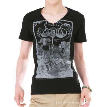 Benutzerdefinierte Siebdruck Baumwolle Mode Hotsale V-Ausschnitt Männer T-Shirts