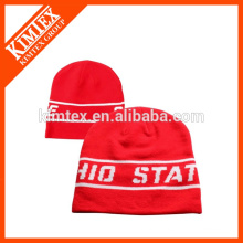 Red jacquard sports team beanie