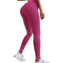 Women jacquard honeycomb running gym fitness yoga pants leggings peach buttock high waist plus size wholesale