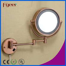 Fyeer Antique Copper Plated LED Maquillaje Espejo de pared