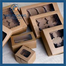 Brown Kraft Recycled Cupcake Display Box (CMG-cake box-004)