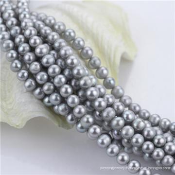 7mm couleur teinte gris Couleur élastique en perles naturelles d'eau douce