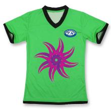 Camiseta de sublimación con cuello en V de las nuevas mujeres de encargo