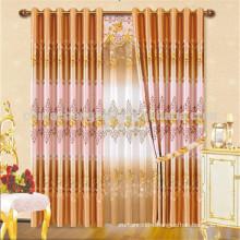 Hotsale design luxury printed orange curtains for villa