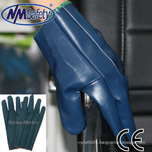 NMSAFETY work use blue nitrile pregnated gloves factory