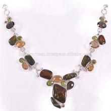 Hermoso Ammolite y multi piedras preciosas 925 joyas de plata de collar