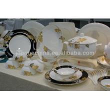 Mezclado diseño hueso china tapa plástico mezcla ensalada tazón porcelana cena