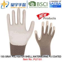 13G Grady Poliéster Shell Waterborne PU Revestido Luvas (PU7101) com CE, En388, En420 luvas de trabalho