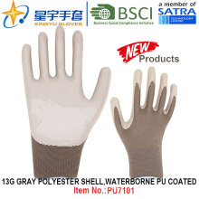 13G Grady Polyester Shell Waterborne PU Coated Gloves (PU7101) with CE, En388, En420 Work Gloves