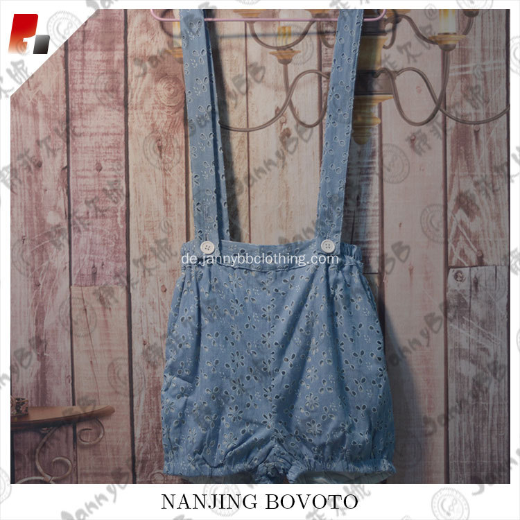 Gewaschene Eyelet Child Overalls Blue Hot Shorts