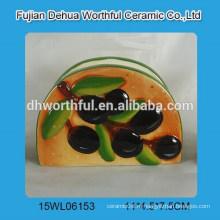Простой держатель керамической салфетки с оливковым дизайном