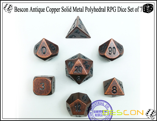 Bescon Antique Copper Solid Metal Polyhedral RPG Dice Set of 7-1