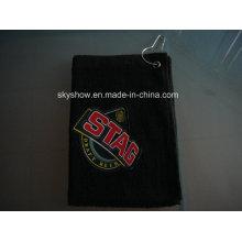 Черный гольф полотенце с вышитым логотипом