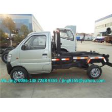 ChangAn caminhão de lixo mini, 2 tonelada de capacidade de gancho caminhão de lixo elevador com 53HP motor a gasolina