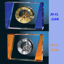 Blue or Amber Luxury Big Crystal Table Office Clock
