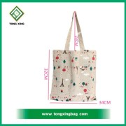 Promotion colorful striped canvas cotton beach tote bag