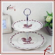 2 corbatas Soporte del soporte de la torta de cerámica