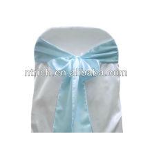 Faixa de cadeira azul de cetim, laços de cadeira, quebra para hotel do banquete de casamento