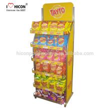 Entdecken Sie den besten Geschmack Ihrer Marke Süße Süßigkeit Stand Alone Pop Chips Werbung Retail Store Metall Lebensmittel Display Stand