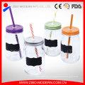 Venta de jarra de vidrio de etiqueta jarra de masón de agua con paja