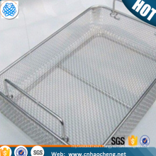 Stainless steel wire mesh medical sterilizer storage basket