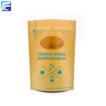Hot New Products for Kraft Paper Bags With Window Printed Brown Kraft Paper Stand Up Pouches Wholesale supply to Italy Importers