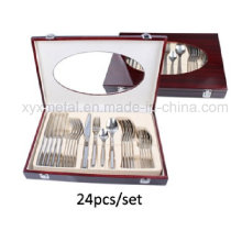24PCS High Class Stainless Steel Tableware/Cutlery Set with Wooden Box Packaging
