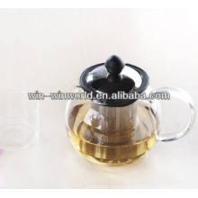 Potenciômetro de vidro antigo resistente ao calor do suporte de chá de Pryex com tampa dos SS