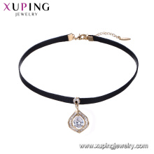 44236 fashion jewelry made in china 18k dainty white diamond pendant copper alloy leather cord necklace