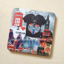 Coaster impresso quadrado do café da cortiça do MDF Coaster impermeável
