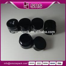 Vente en gros de sérigraphie en forme ronde Pot en plastique noir et 5g 10g 15g 30g 50g 100g 200g Pot acrylique Conteneurs de voyage cosmétiques