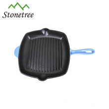 Wholesale New Green Enamel Coating Square Cast Iron Cookware Grill Pan