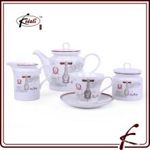 Novo padrão de design durável porcelana coffe chá conjunto