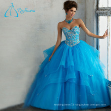 Tulle Satin Sleeveless Crystal Sexy Quinceanera Dresses Ball Gown