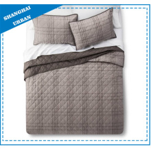 Brown Stripe Solid Reversible Polyester Quilt Set