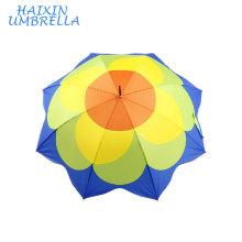Feito no guarda-chuva reto impresso flor da sublimação da tintura da transferência térmica de China 100% Ployester para a promoção com punho de couro