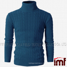 Mens Casual Turtleneck Slim Fit Pullover Pullover mit Twist Patterned