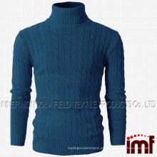 Mens Casual Turtleneck Slim Fit pulôver camisolas com Twist Patterned