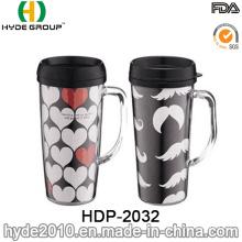 High Quality Double Wall Travel Coffee Mug with Handle (HDP-2032)