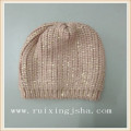 Lady fashion gold foil printed knitted hat